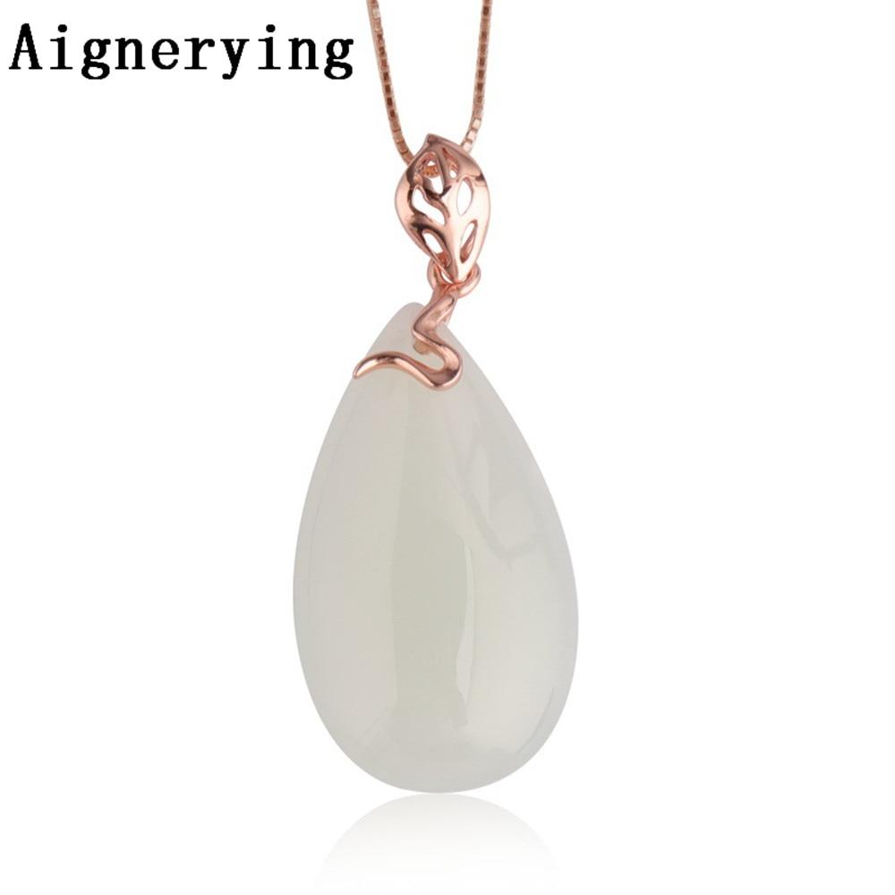 Certificat Vintage blanc Jade Sterling 925 argent infini précieux pour les femmes Rose or colliers fournir pendentif boîte-cadeau
