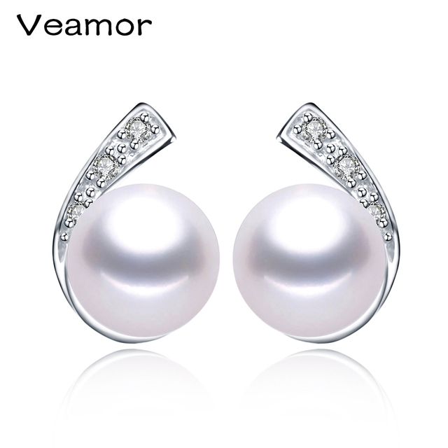 High quality 925 Sterling Silver Jewelry For Women Natural Freshwater Real Pearl Earrings Stud Earings Factory Wholesale 8-9mm