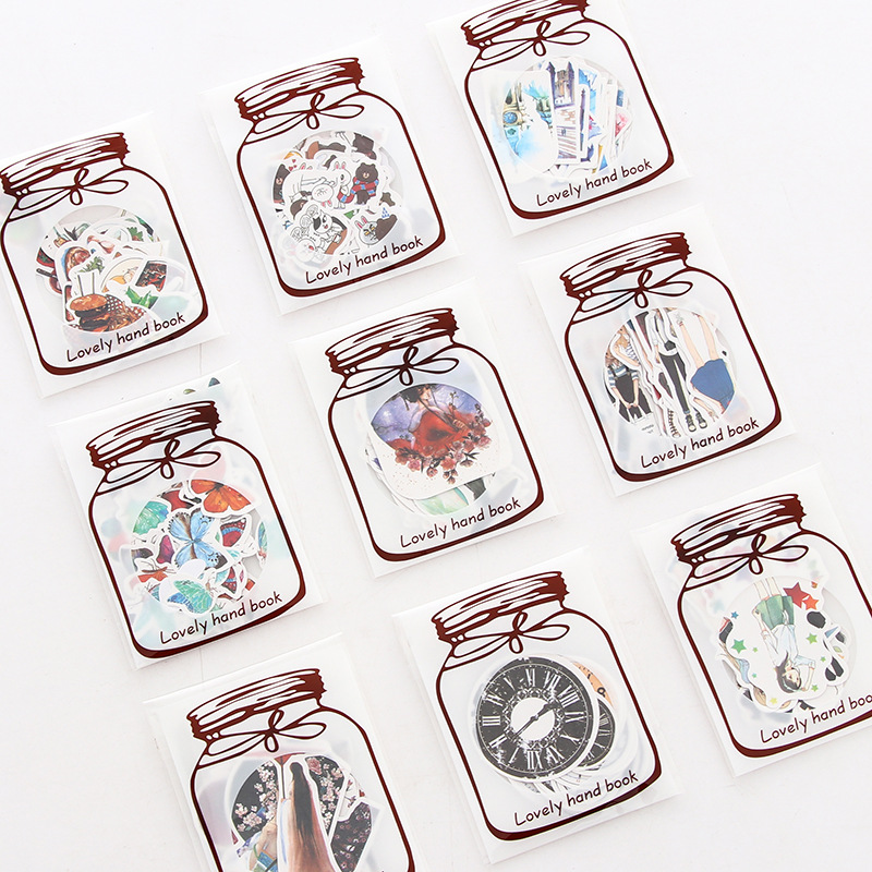 Creative transparent bottle Cartoon Animal Diary PVC Stickers Decorative Mobile Stickers Scrapbooking DIY Craft Stickers