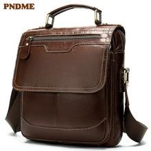PNDME genuine leather men's shoulder bag fashion cowhide leather crossbody bags vintage simple cube cross handbag цены