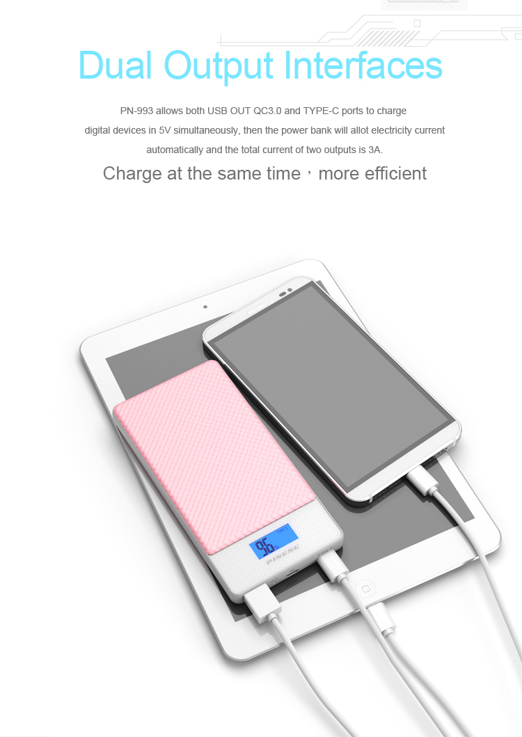 PINENG 10000mah Two-way Fast Charge Power Bank PN 993 QC3.0 Portable Battery Li-Polymer Type-c port For iphone6s Mi Huawei Meizu 23