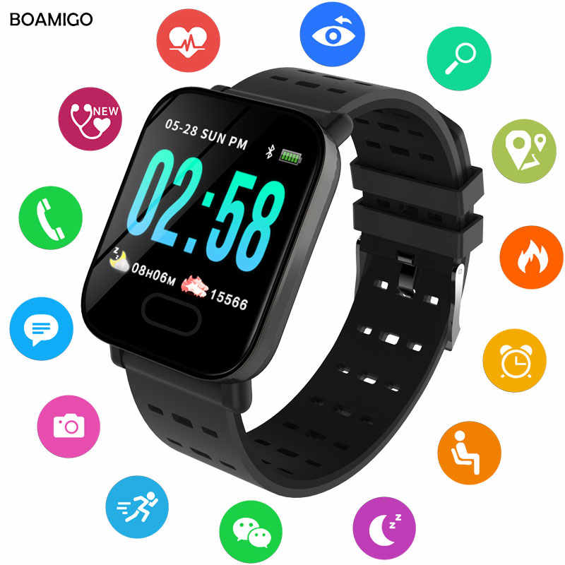 BOAMIGO Bluetooth Smart Bracelet Color Screen Fitness Tracker Heart Rate Smart Band Step Activity Monitor Smart Watch For Sport