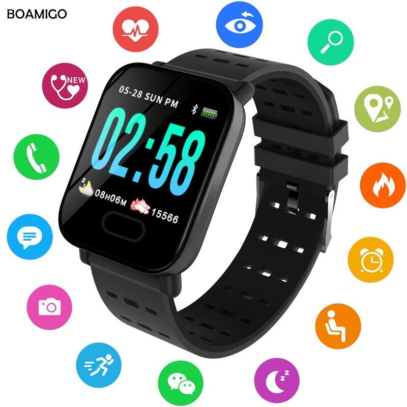 BOAMIGO Bluetooth Braccialetto Intelligente di Colore Dello Schermo Inseguitore di Fitness Frequenza Cardiaca Smart Step Banda Attività Monitor Intelligente Orologio Per Lo Sport