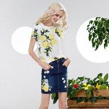 Suits Women Two Pieces Suits Lemon Printed Short Sleeves Cotton Top Beading Appliques Denim Dress New Fashion Style 2017 Summer
