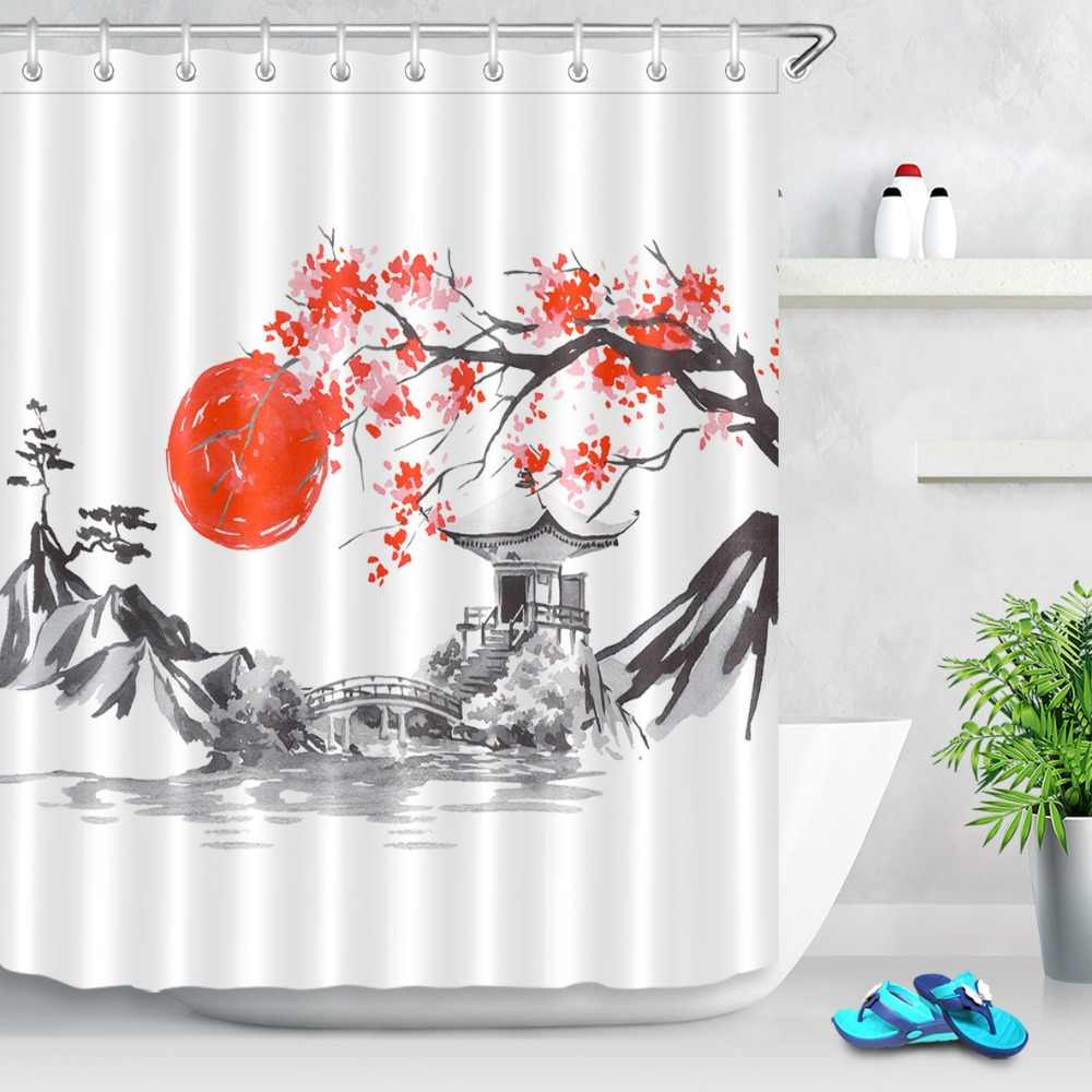 LB Japan Traditional Sumi-e Painting Sunset Fuji Mountain Sakura Shower Curtain Bathroom Waterproof Polyester Fabric for Bathtub
