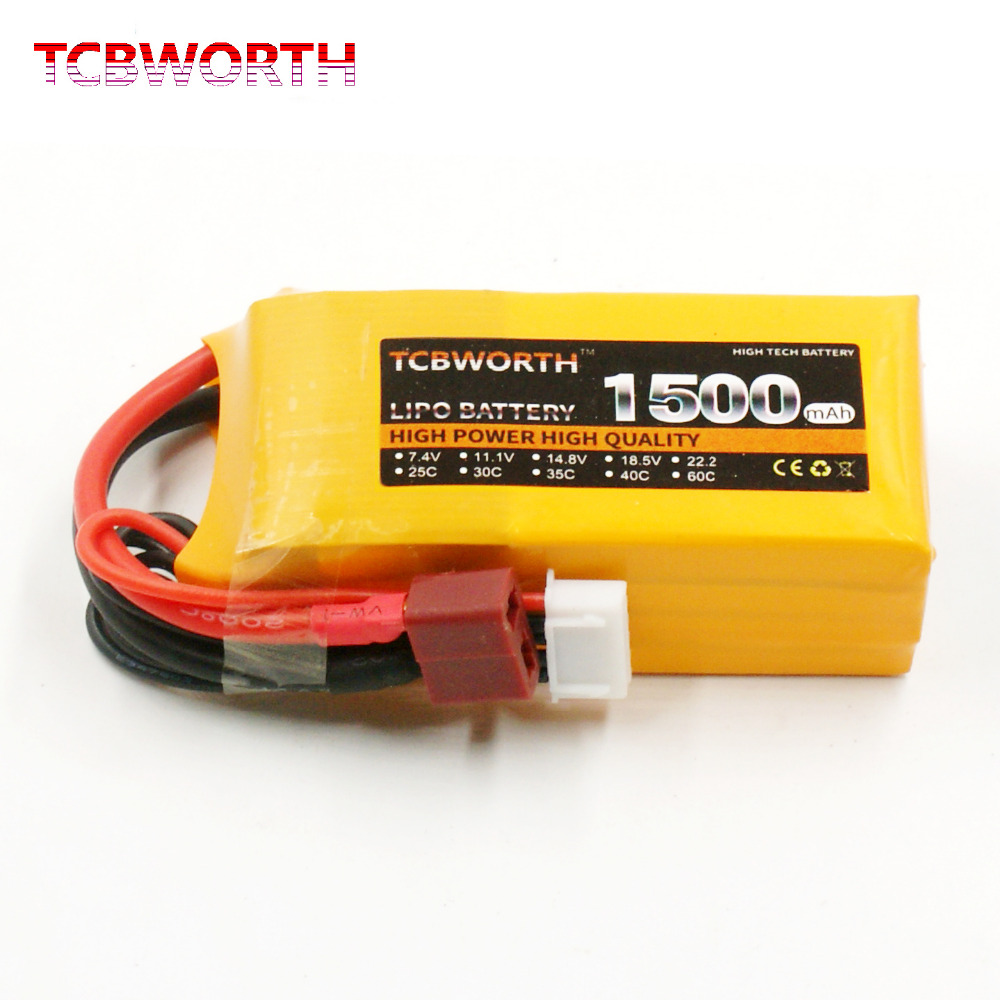 TCBWORTH RC Toys <font><b>LiPo</b></font> battery <font><b>4S</b></font> 14.8V <font><b>1500mAh</b></font> 25C For RC Helicopter Airplane Quadrotor Drone Car RC Li-ion battery image