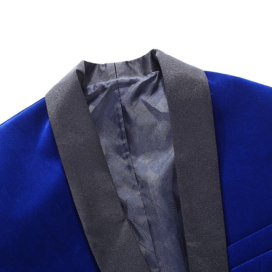 PYJTRL Brand Mens Classic 3 Pieces Set Velvet Suits Stylish Burgundy Royal Blue Black Wedding Groom Slim Fit Tuxedo Prom Costume