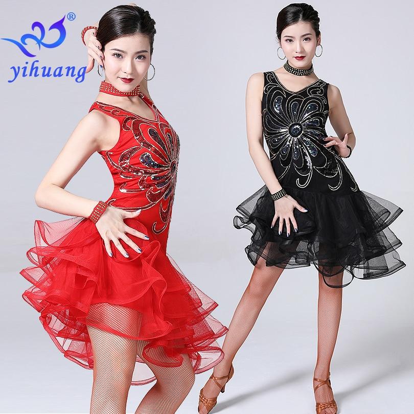2019 Women Latin Jazz Dance Dress Performance Sequin Beaded Embroidery Girls Lady Sexy Salsa/Ballroom/Tango/Cha Cha Competition