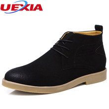 UEXIA Men Boots Leather Lace-up Men Shoes Casual Fashion Ankle Boots Casual Footwear Male Warm Flat Shoes Leisure Classic toolin