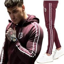 Conjuntos de ginástica masculina 2018 conjuntos de roupas esportivas de moda conjuntos de ginástica masculina hoodies + calças casuais outwear ternos chandal hombre completo