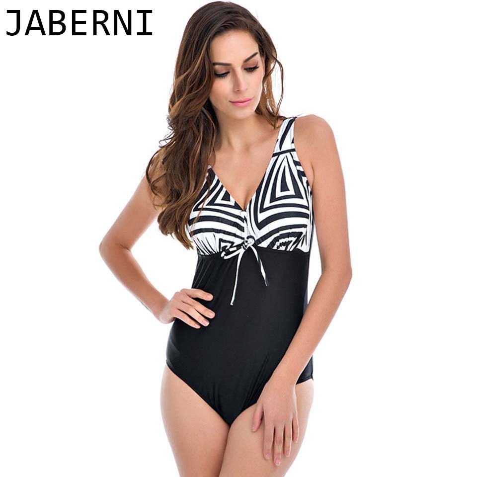 ФОТО JABERNI one piece swimsuit women 2017 vintage retro swimwear patchwork bathing suits high cut swimsuit plus size bikini RS824