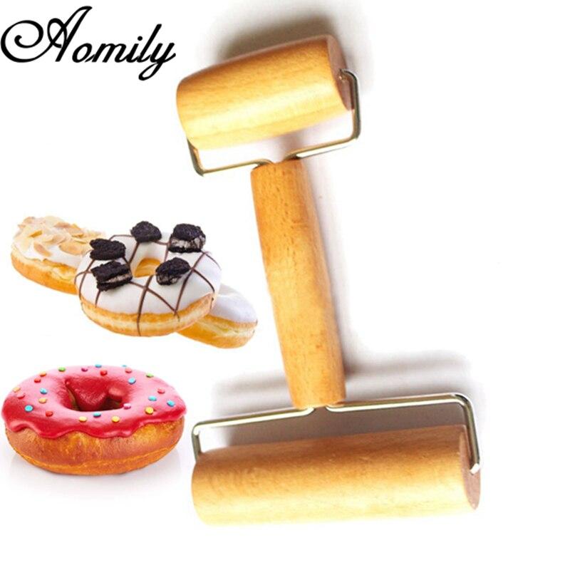 Aomily 2-in-1 Keuken Gadget Koken Gereedschap Hout Gebak Pizza Roller Handdle Deegroller Keuken Bar Bakvormen Rolling Pins