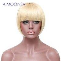 613 парик фронта шнурка блондинка парик человеческих волос парики с челкой Боб прямые волосы короткие волосы парик натуральные волосы перуа