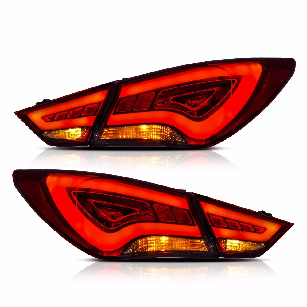 Vland For Hyundai Sonata 2011-2014 Tail Lights LED Brake Light Bar Clear Lens Rear Lamp багажник на крышу lux hyundai sonata тагаз 2001 2011 1 2м прямоугольные дуги 692971