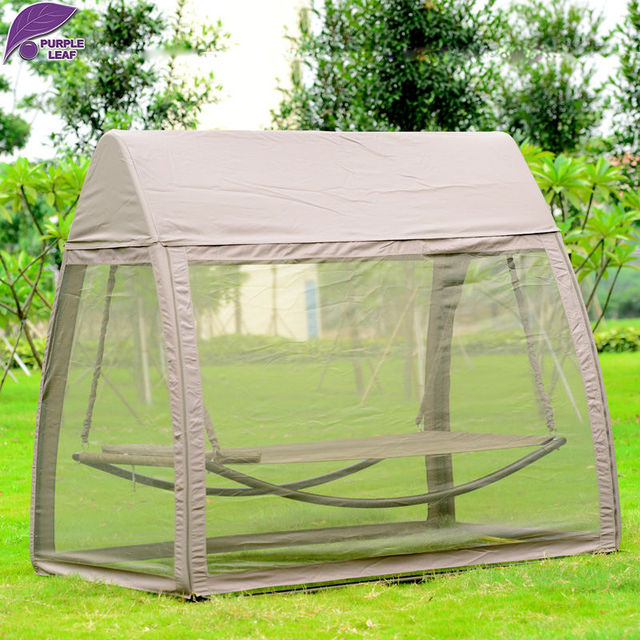 PurpleLeaf Patio Leisure Garden Swing Chair Outdoor Sleeping Bed Hammock  With Gauze And Canopy