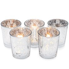 1pcs Classy Votive Candle Holders  Every Home And Wedding Decor  Mercury Glass With A Speckled Silver To Add A Unique Atmosphere