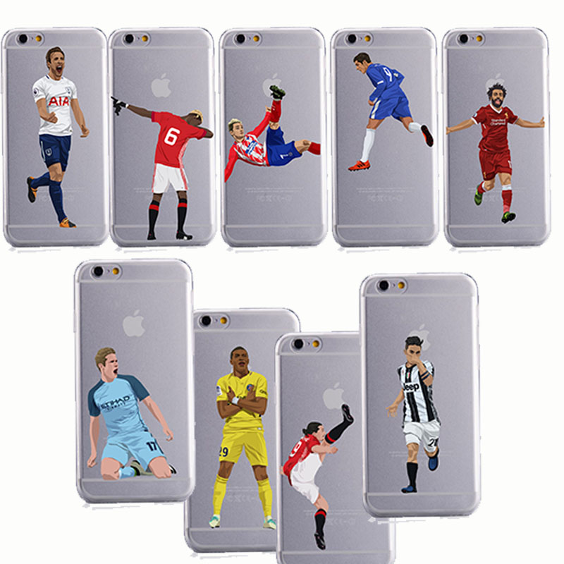 DIY phone case Soccer Cartoon Cristiano Ronaldo messi silicone phone cases cover for iphone 6 6S 7 8 plus X 10