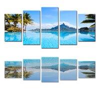 5 Panels (kein Rahmen) leinwand Wandkunst Schöne Seascape Kokospalmen Bilder auf Leinwand Anstrich für Hauptdekoration