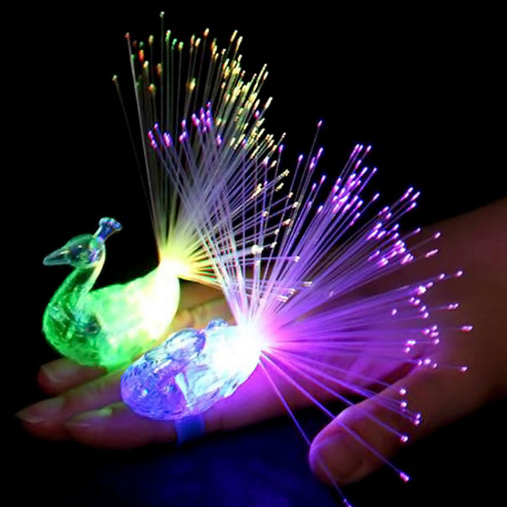 1Pc Peacock Finger Light Colorful LED Light-up Rings Party Gadgets Kids Intelligent Toy For Brain Development