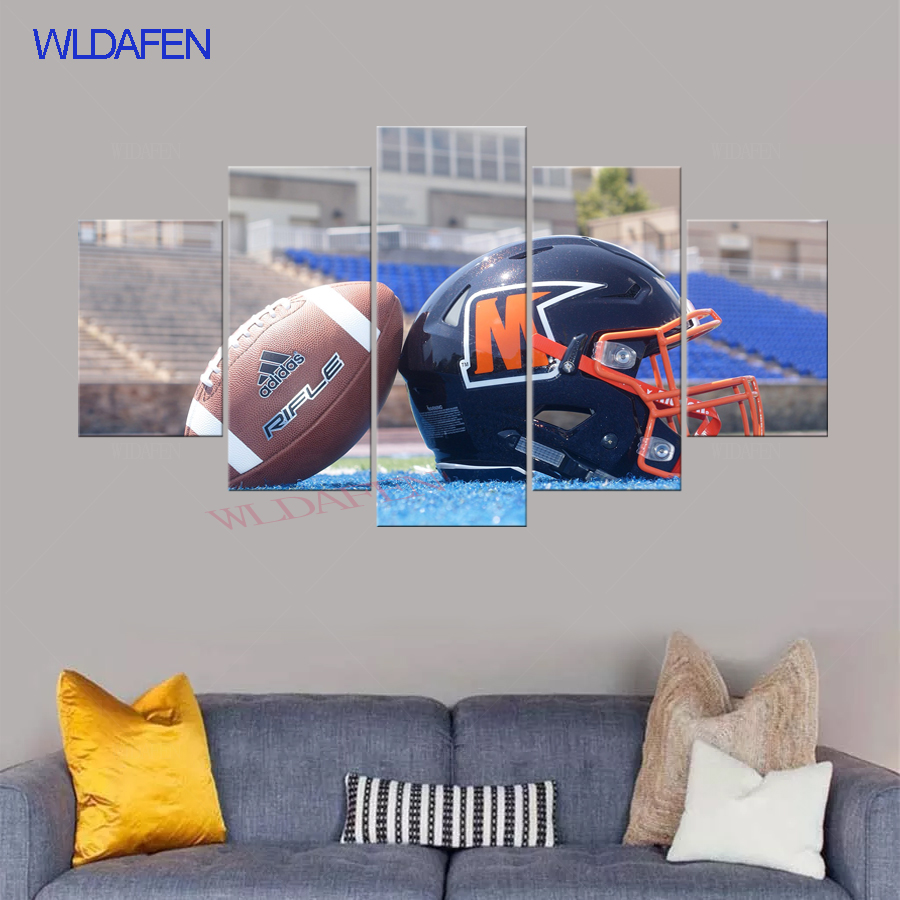 HD Printed 5 piece canvas art American Football Helmet Pictures Picture Modern Wall Art Home Decor Painting