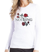 Nothing Letters Printed Rose Harajuku T Shirts For Lady 2017 Spring Summer Women S Long Sleeve