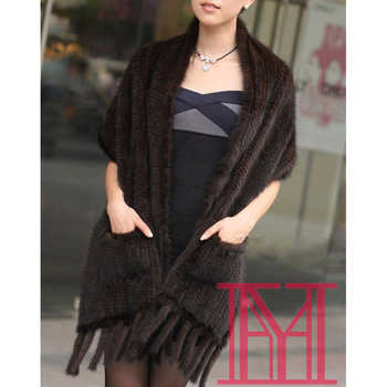 Elegant Women winter natural mink fur shawl cape black and coffee scarf pocket Scarves with Tassels Lady Pashmina Wraps - DISCOUNT ITEM  50 OFF Apparel Accessories