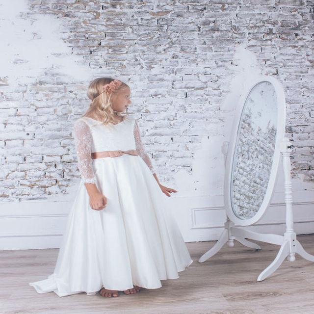 Mermaid Flower Girl Dresses for Weddings Champagne Satin Baby Girl  Communion Dresses Long Sleeve Tulle Mother Daughter Dresses 0cbb0e8e7732