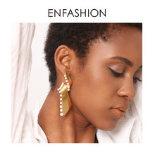 Enfashion Pearl Lacy Earrings For Women Fashion Jewelry Dangle Long Earring Big Earings Boucle D'oreille Femme 2018 EFJ181057(China)