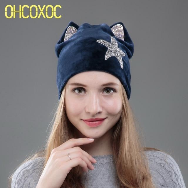 33f50a27676 OHCOXOC New Design Beanies Skullies Women And Girl Cute Autumn Winter Hat  Cap With DMC AAAA