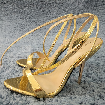 Women Stiletto Thin Iron High Heel Sandal Sexy Ankle Strap Buckle Open Toe Gold Snakeskin Party Bridals Ball Lady Shoe 3845-i10