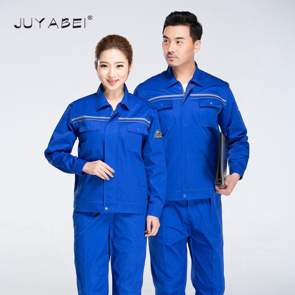 2018 Double bande réfléchissante unisexe vêtements de travail ensembles vêtements de protection hommes manteau antistatique avec pantalons ensembles de services d'ingénierie