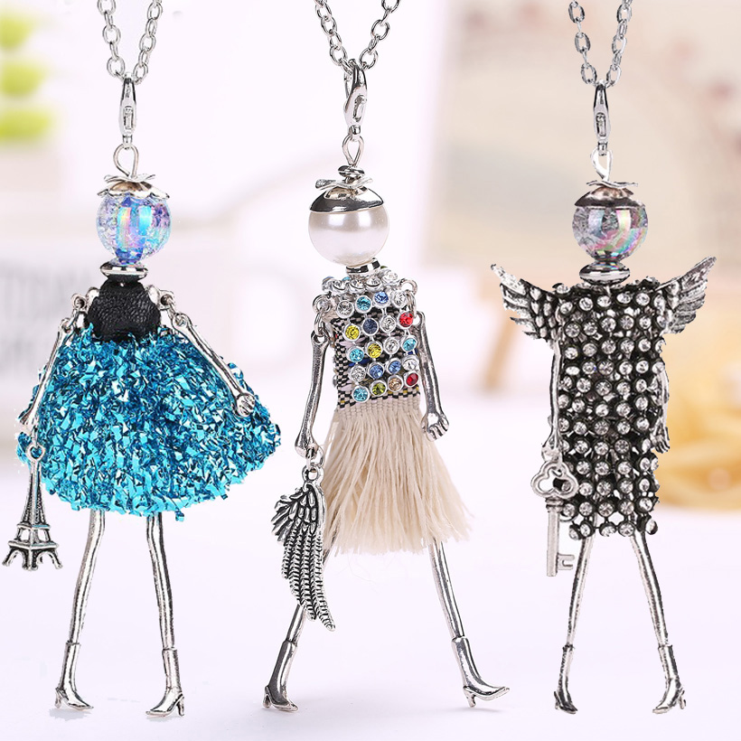 YLWHJJ brand doll cute women pendant necklace many colors long chain hot handmade girls fashion jewelry rhinestone collier femme