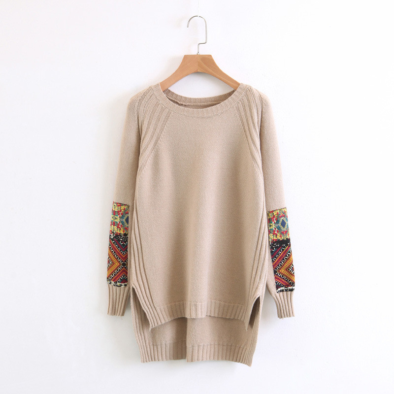 Christmas Gift 2017 Women Vintage Embroidery Sweater Jumpers Solid Retro Pullover and Sweaters Irregular Split sueter mujer