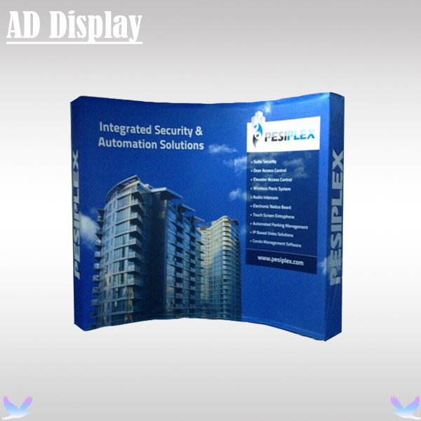 10ft Expo Booth High Quality Curved Fabric Pop Up Banner Display Stand With Single Side Printing,Portable Trade Show Backwall