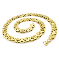 NIENDO 55CM*11MM Promotion! Men Necklace Chain Link Necklaces Stainless Steel Byzantine Wholesale High Quality LN104