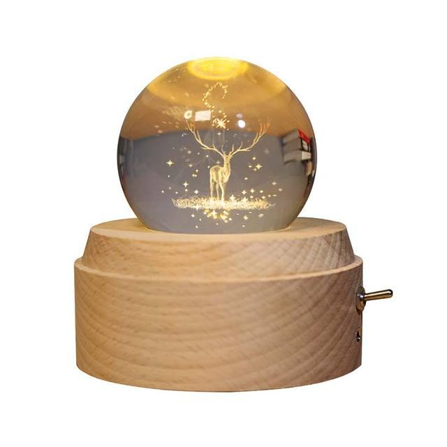 10pcs Moon Crystal Ball Night Light Wooden Music Box Music Box Rotary Innovative Birthday Gift Hand Crank Mechanism Gift 1