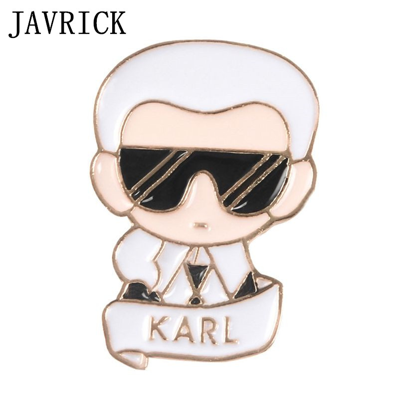 Figure Brooch Karl Famous Fashion Man Backpack Icons Badge Creative Casual Jean Decoration Ornament Gifts in Brooches from Jewelry Accessories