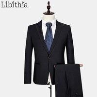 (Куртка + брюки) для мужчин шерстяной костюм Торжественный костюм Homme Для мужчин S Повседневные комплекты одежды с Брюки для девочек мужской