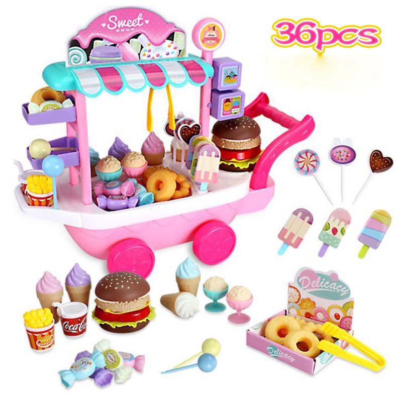 36Pcs Sweet Shop Miniature Cart Ice Cream Dessert Lollipop Baby Kitchen Pretend Play Push Food Girl Toys For Children Furniture