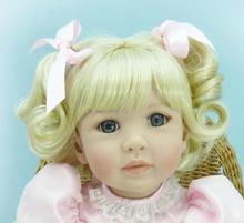 20 inch 50cm Silicone baby reborn dolls Children's toys beautiful blue eyes and blonde hair girl