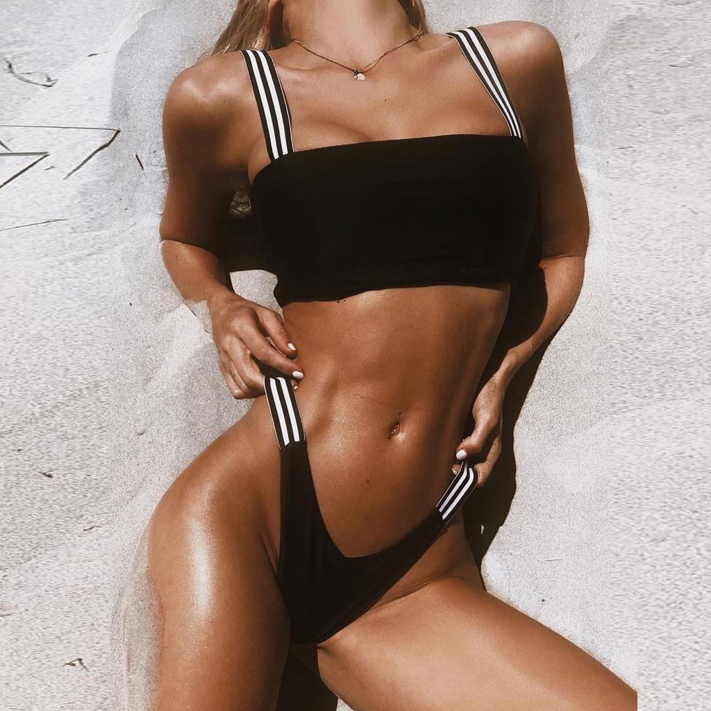 Пикантные для женщин полосатое бикини элегантный одежда заплыва костюм пуш ап Мягкий Купальники для малышек купальный пляжная biquinis feminino 2019