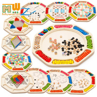 MWZ 16 kinds of games Multifunction Chinese checkers Flying animal checker Snake lucky26 Children Wooden Chess Puzzle Toys
