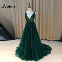 V neck Sparkly Sequined Prom Dresses Green Vestido De Festa Open Back Evening Gowns Sexy Robe De Soiree Party Dress For Weddings