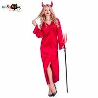 נשים סקסיות אדום לרחוש שטן תחפושת Devilish קוספליי תחפושות ליל כל הקדושים תחפושות גלימת סרבל למבוגרים נקבה מפחיד