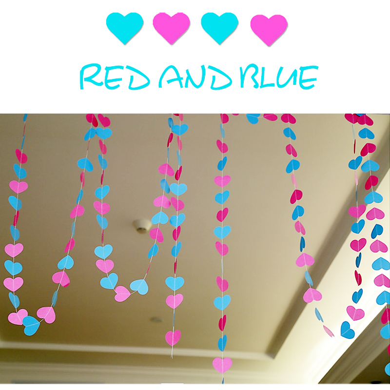 4m colorful heart paper wedding party decoration garland for Heart shaped decorations home