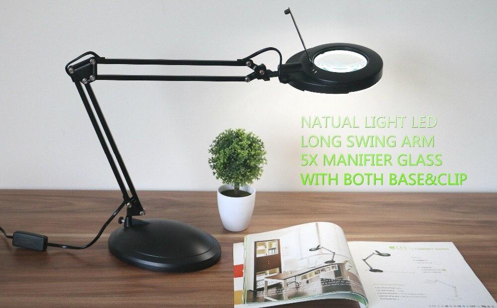 Magnifier Magnifying Glass Len SMD LED Swing Arm Task Base Clamp Desktop Desk Clip-on Lamp Lighting Reading Hobby Craft Work