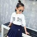 Детская Одежда Весна Одежды Девушка С Длинным Рукавом Маленькое Животное Вышивка Чистого Хлопка Белая Рубашка Полный Хлопок