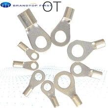 OT1-3 OT1-4 OT2.5-4 латунь Медь наконечник неизолированный Круглый Nake-хомут с круглым воротником для мальчиков и девочек провода кабеля холодной Пресс разъем обжимной терминал