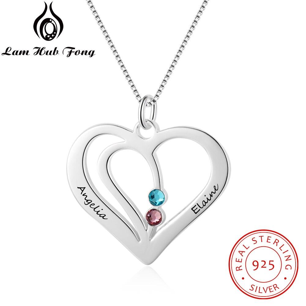 Personalisierte Halsketten 925 Sterling Silber Herz Form Anhänger Gravieren Name Halsketten Birthstone DIY frauen Geschenk (lam hub fong)