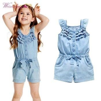 WEIXINBUY Kids Baby Girls Clothing Rompers Denim Blue Cotton Washed Jeans Sleeveless Bow Jumpsuit 0-5 Years Old conjuntos casuales para niñas